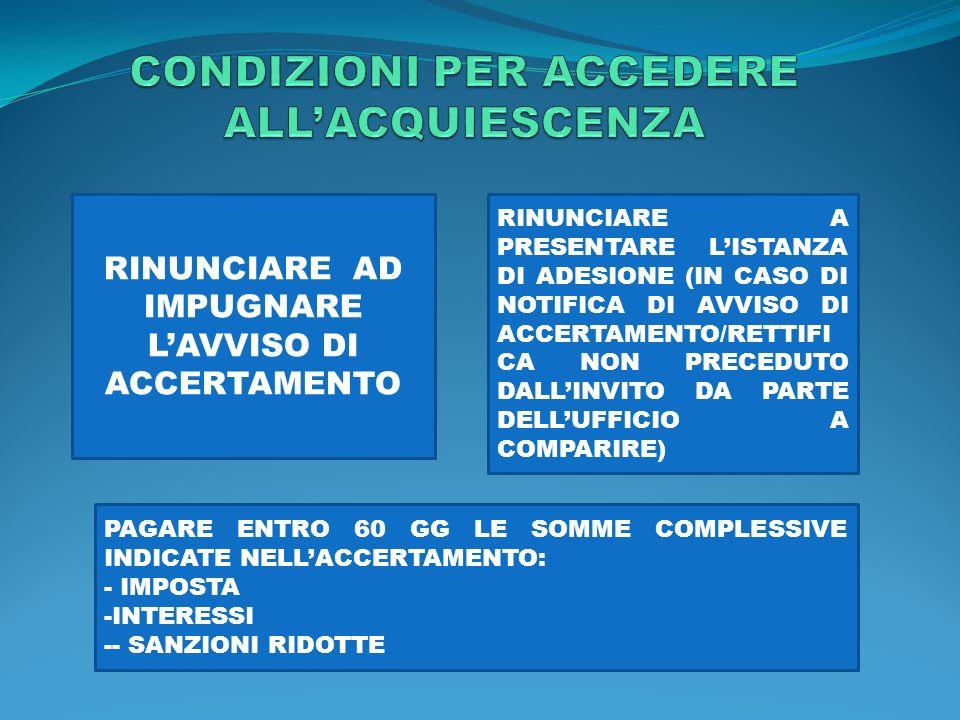 CONDIZIONI PER ACCEDERE ALL'ACQUIESCENZA