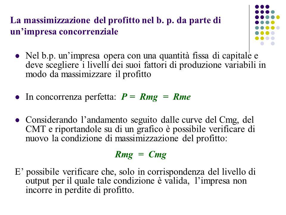 La massimizzazione del profitto nel b. p