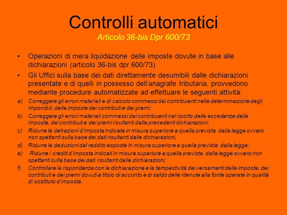Controlli automatici Articolo 36-bis Dpr 600/73