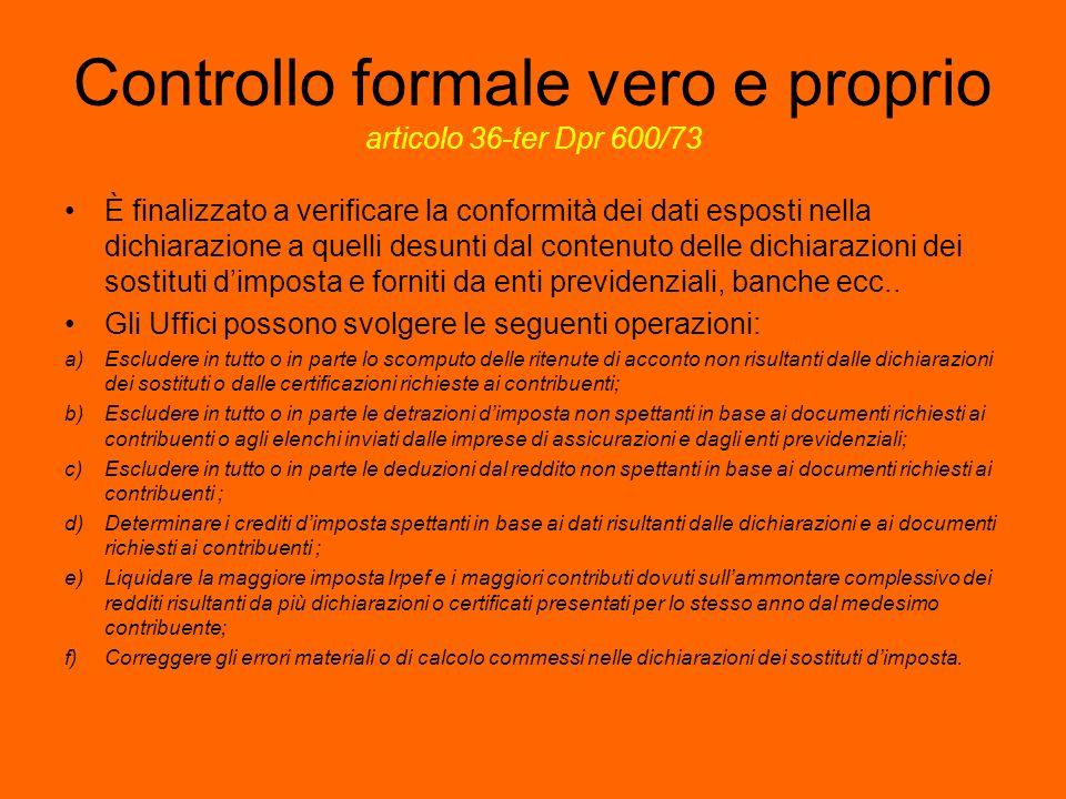Controllo formale vero e proprio articolo 36-ter Dpr 600/73