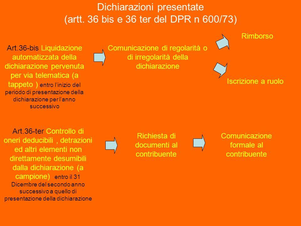 Dichiarazioni presentate (artt. 36 bis e 36 ter del DPR n 600/73)