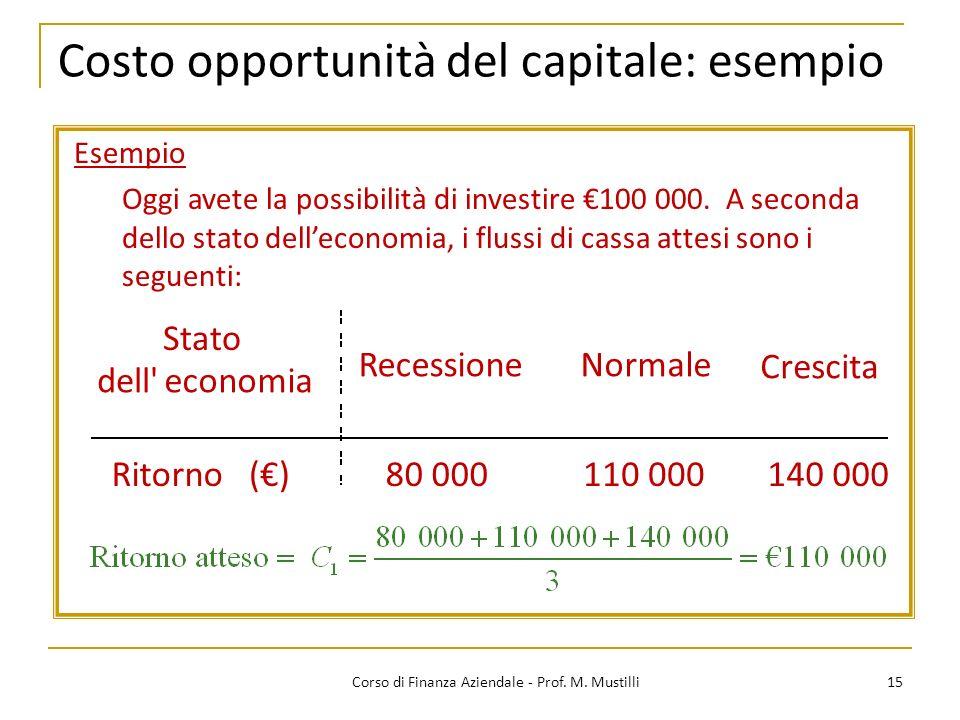 Costo opportunità del capitale: esempio