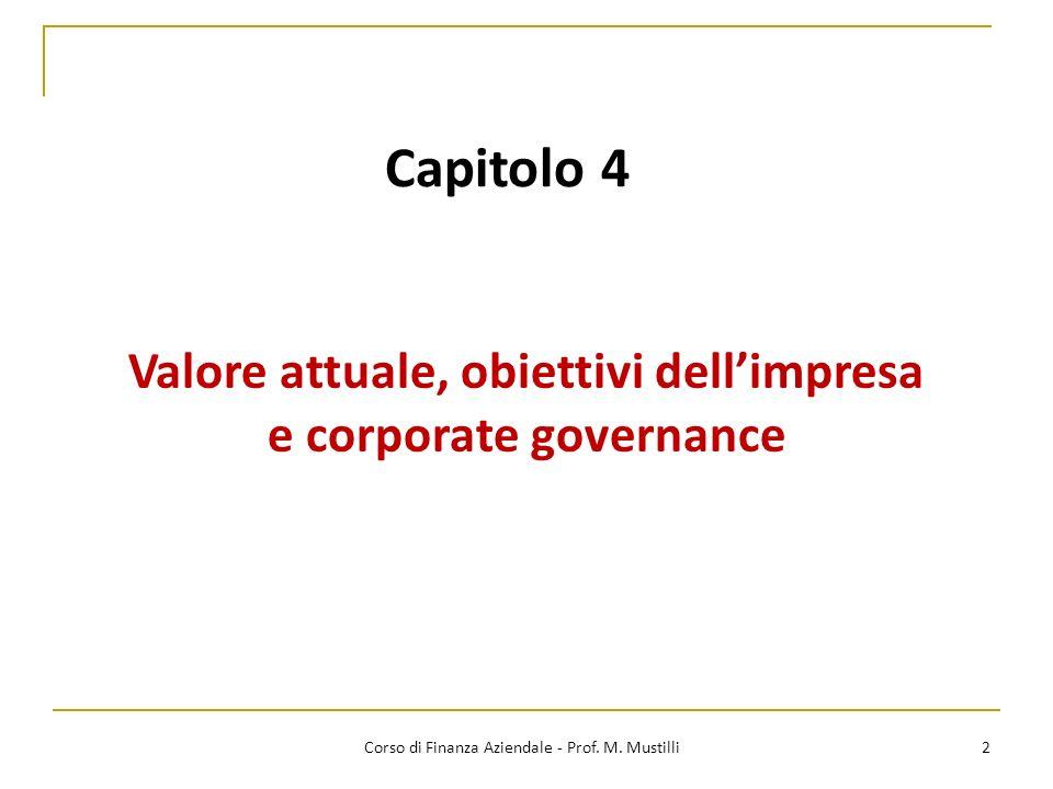Valore attuale, obiettivi dell'impresa e corporate governance