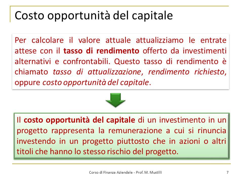 Costo opportunità del capitale