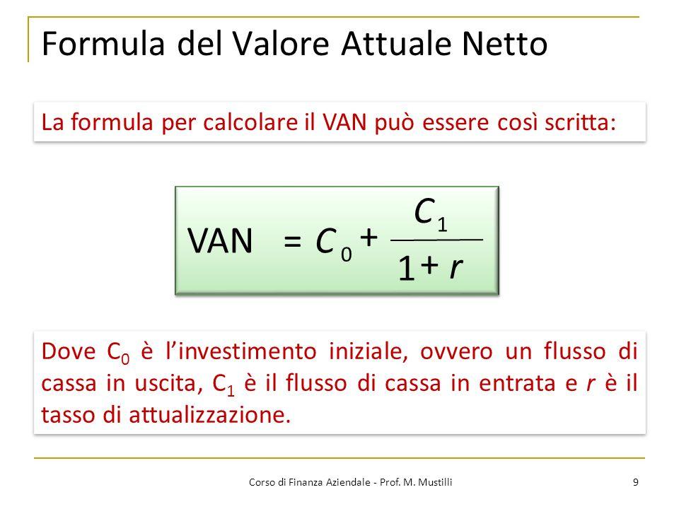 Formula del Valore Attuale Netto