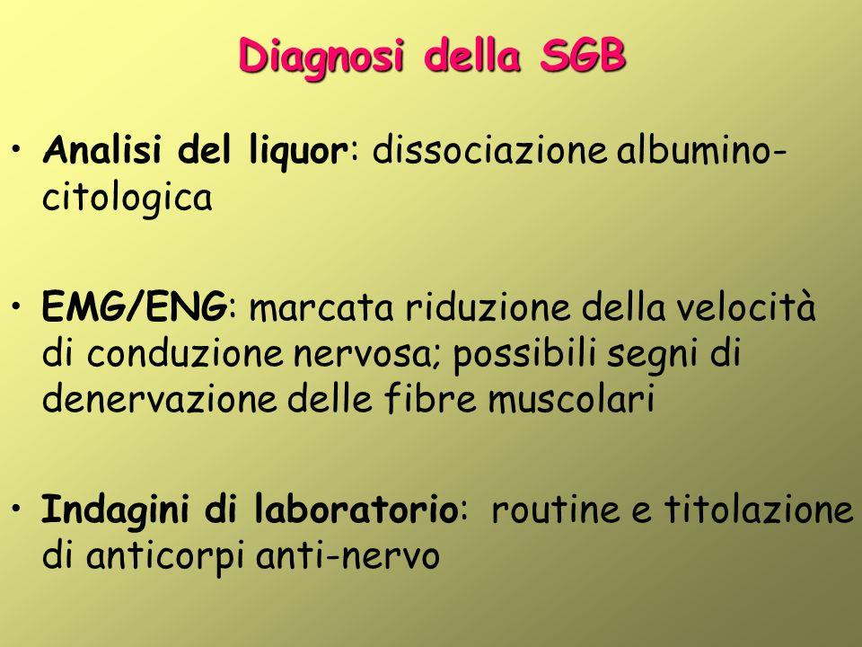 Diagnosi della SGB Analisi del liquor: dissociazione albumino-citologica.