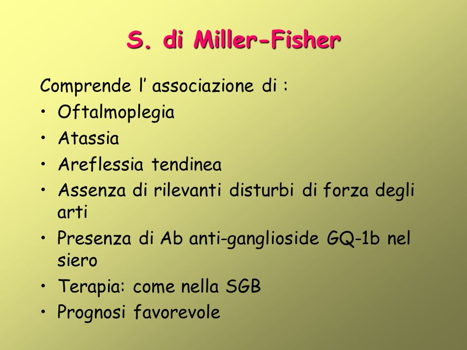 S. di Miller-Fisher Comprende l' associazione di : Oftalmoplegia