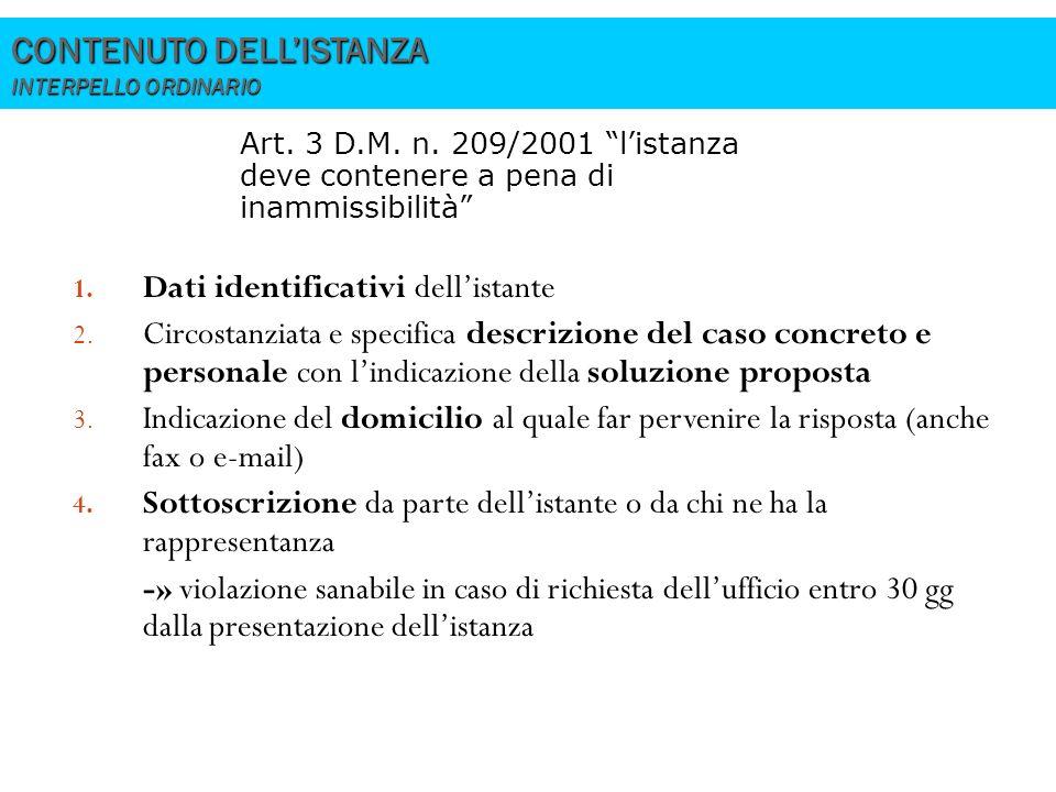 CONTENUTO DELL'ISTANZA INTERPELLO ORDINARIO