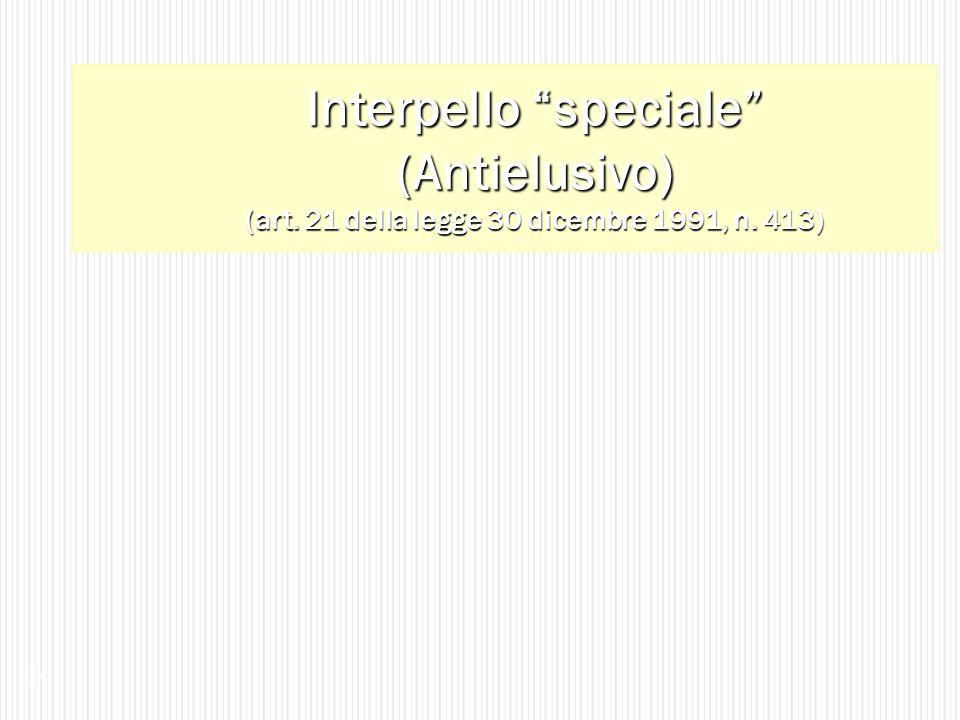 Interpello speciale (Antielusivo) (art