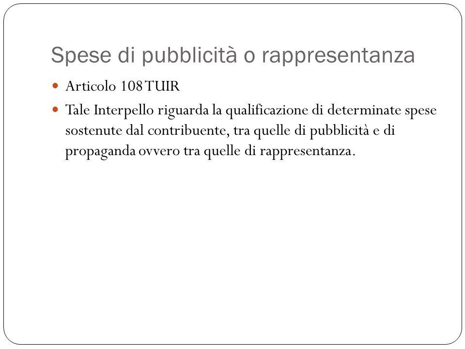 Spese di pubblicità o rappresentanza