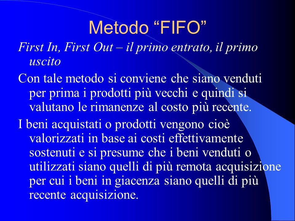 Metodo FIFO First In, First Out – il primo entrato, il primo uscito
