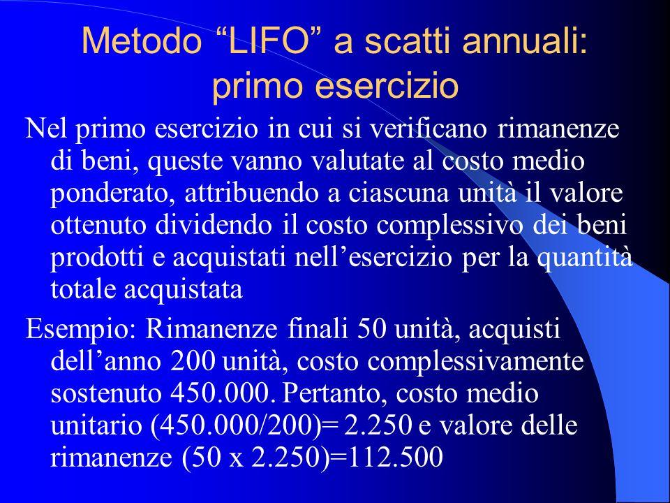Metodo LIFO a scatti annuali: primo esercizio