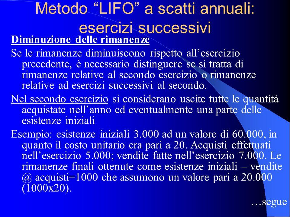 Metodo LIFO a scatti annuali: esercizi successivi