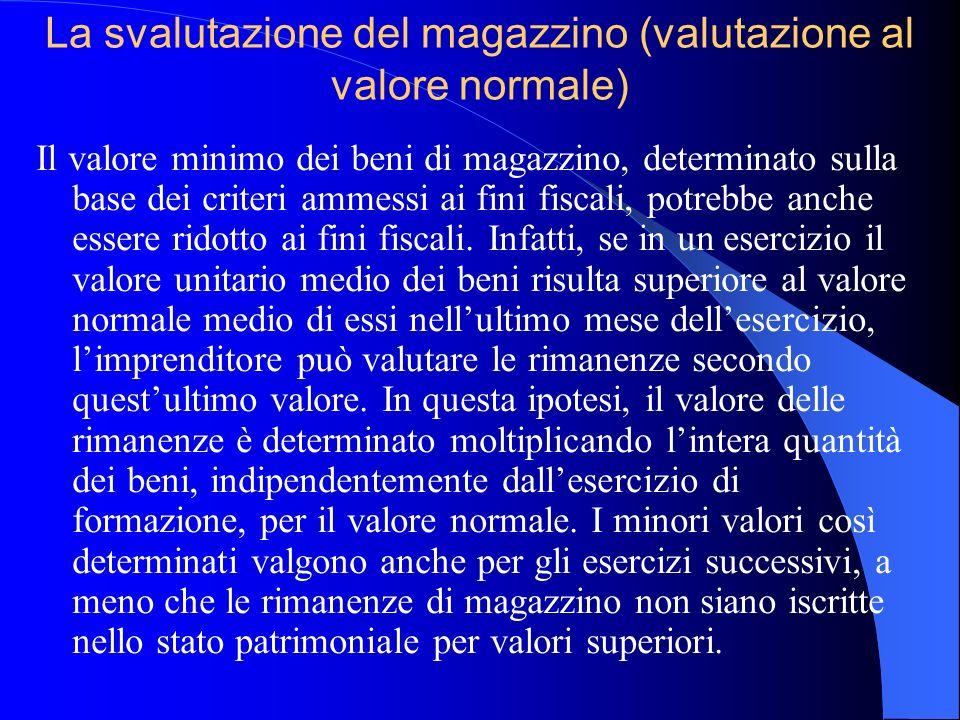 La svalutazione del magazzino (valutazione al valore normale)