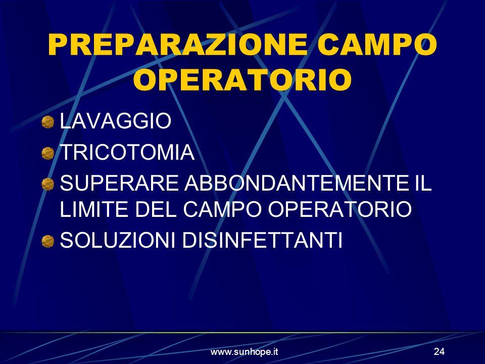 PREPARAZIONE CAMPO OPERATORIO