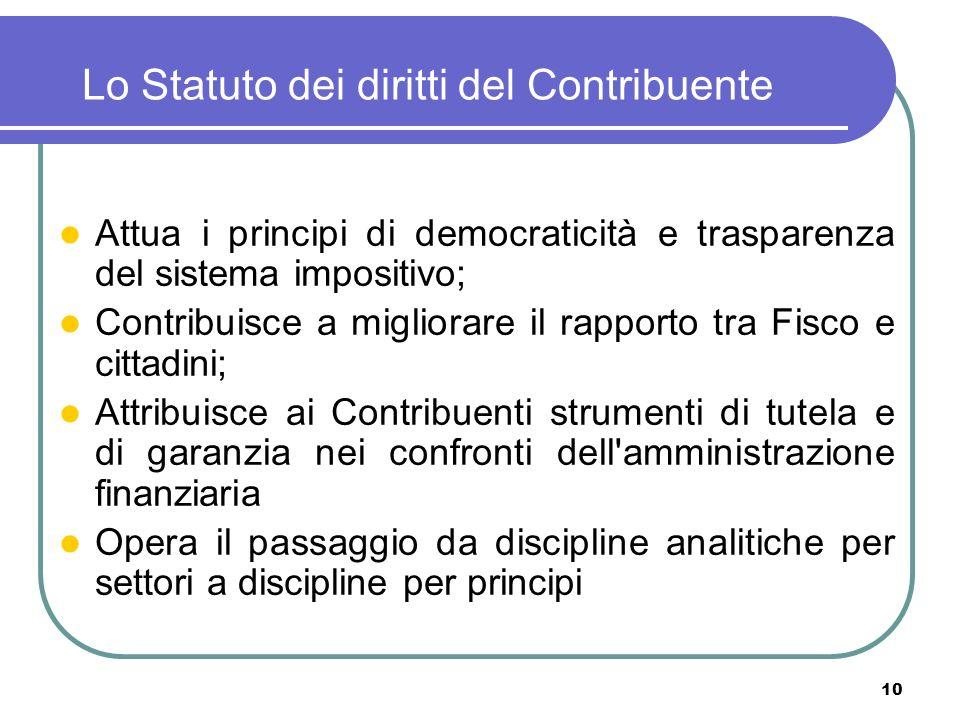 Lo Statuto dei diritti del Contribuente