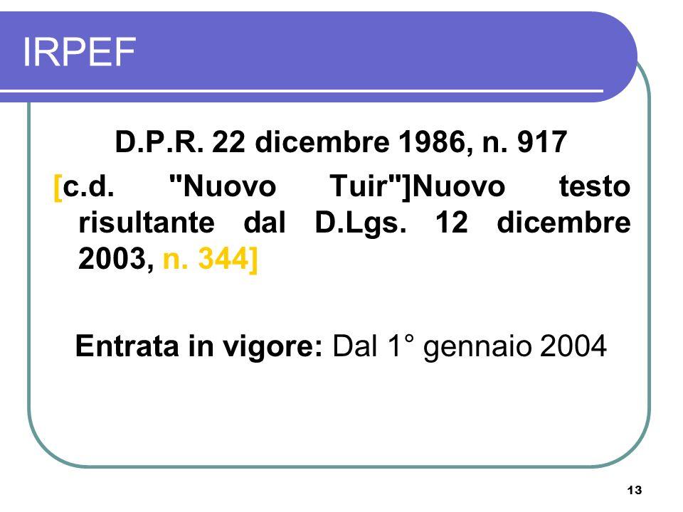 Entrata in vigore: Dal 1° gennaio 2004