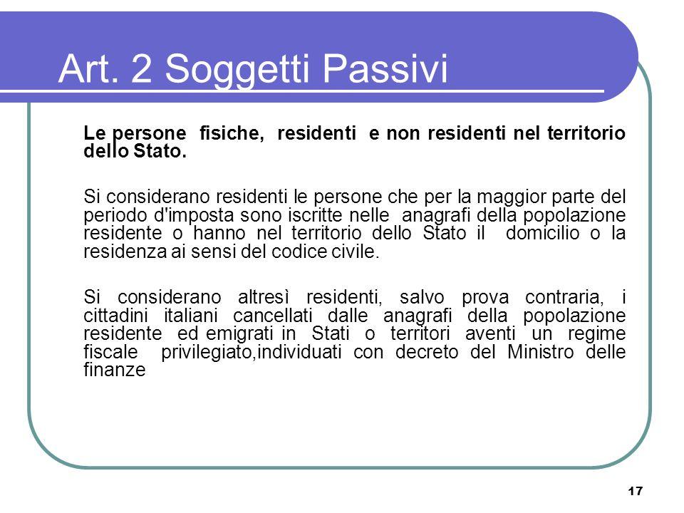 Art. 2 Soggetti Passivi Le persone fisiche, residenti e non residenti nel territorio dello Stato.