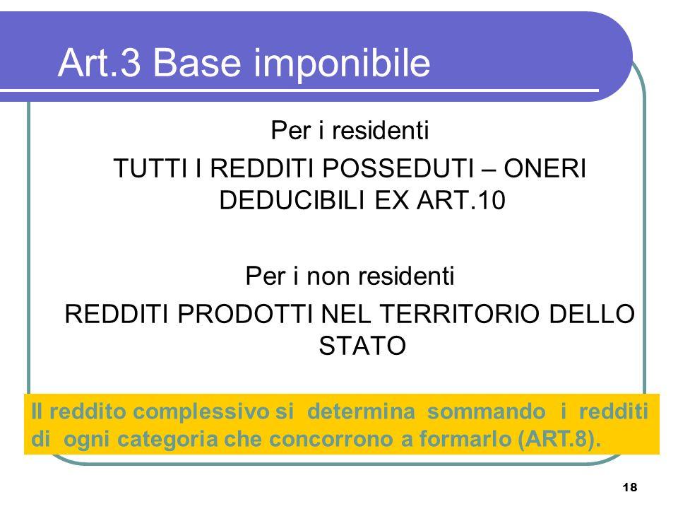Art.3 Base imponibile Per i residenti