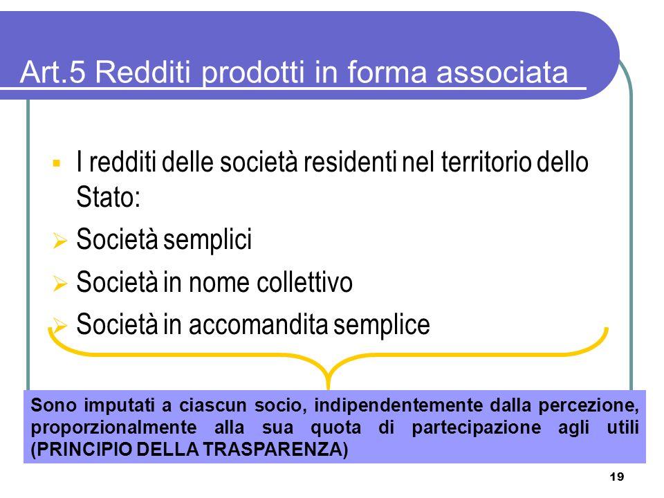 Art.5 Redditi prodotti in forma associata