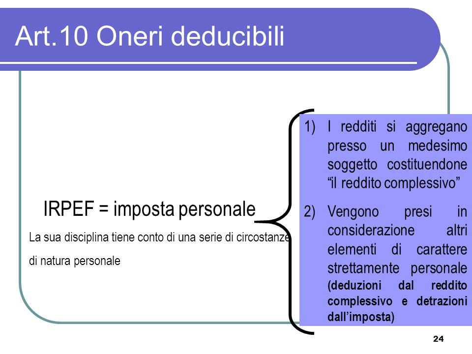 Art.10 Oneri deducibili IRPEF = imposta personale