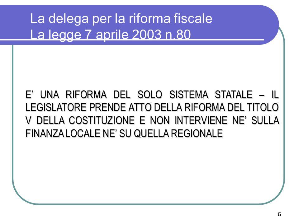 La delega per la riforma fiscale La legge 7 aprile 2003 n.80