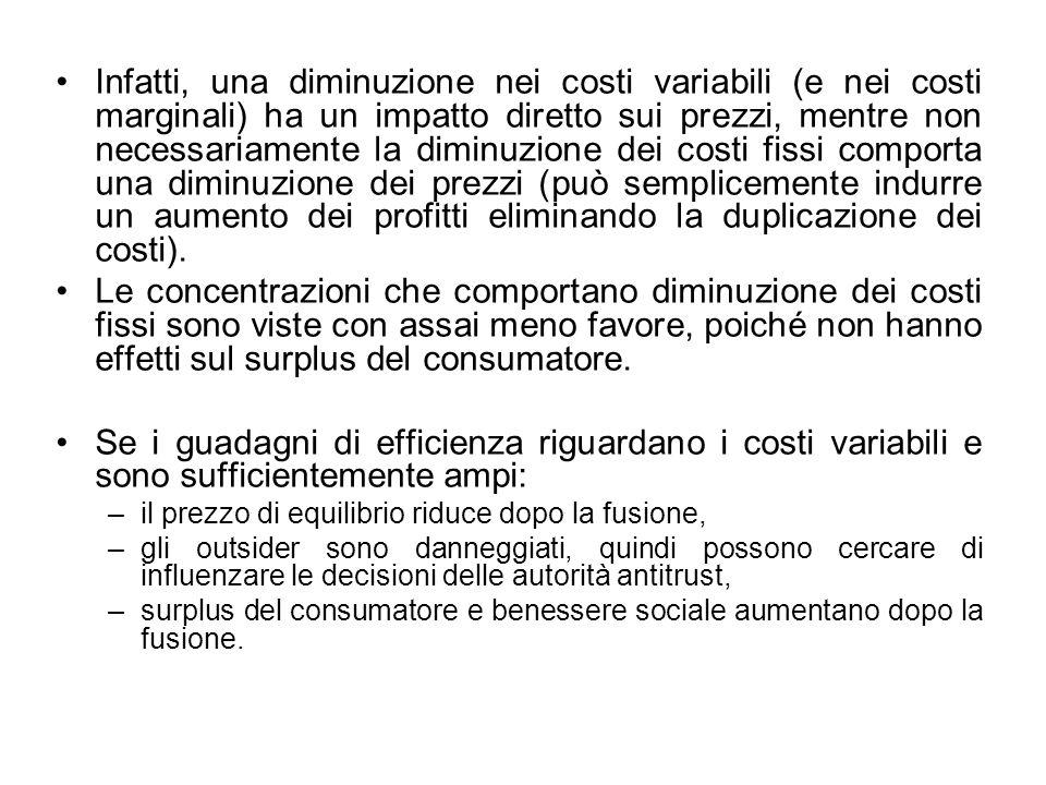 Infatti, una diminuzione nei costi variabili (e nei costi marginali) ha un impatto diretto sui prezzi, mentre non necessariamente la diminuzione dei costi fissi comporta una diminuzione dei prezzi (può semplicemente indurre un aumento dei profitti eliminando la duplicazione dei costi).