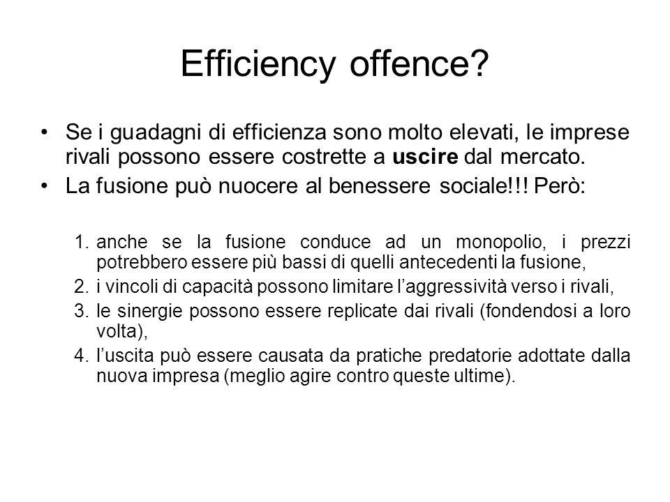 Efficiency offence Se i guadagni di efficienza sono molto elevati, le imprese rivali possono essere costrette a uscire dal mercato.