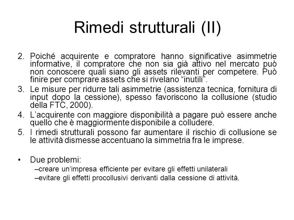Rimedi strutturali (II)