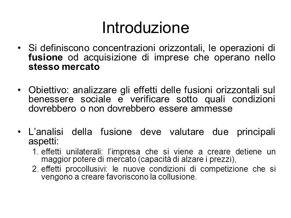 Introduzione Si definiscono concentrazioni orizzontali, le operazioni di fusione od acquisizione di imprese che operano nello stesso mercato.