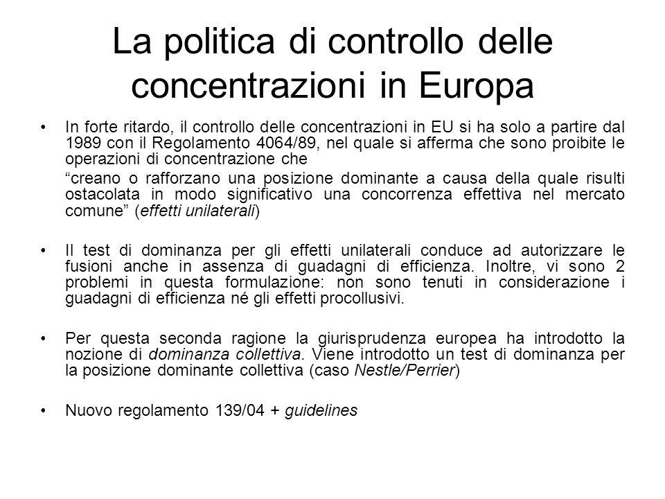 La politica di controllo delle concentrazioni in Europa
