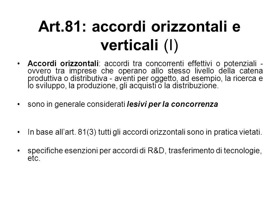 Art.81: accordi orizzontali e verticali (I)