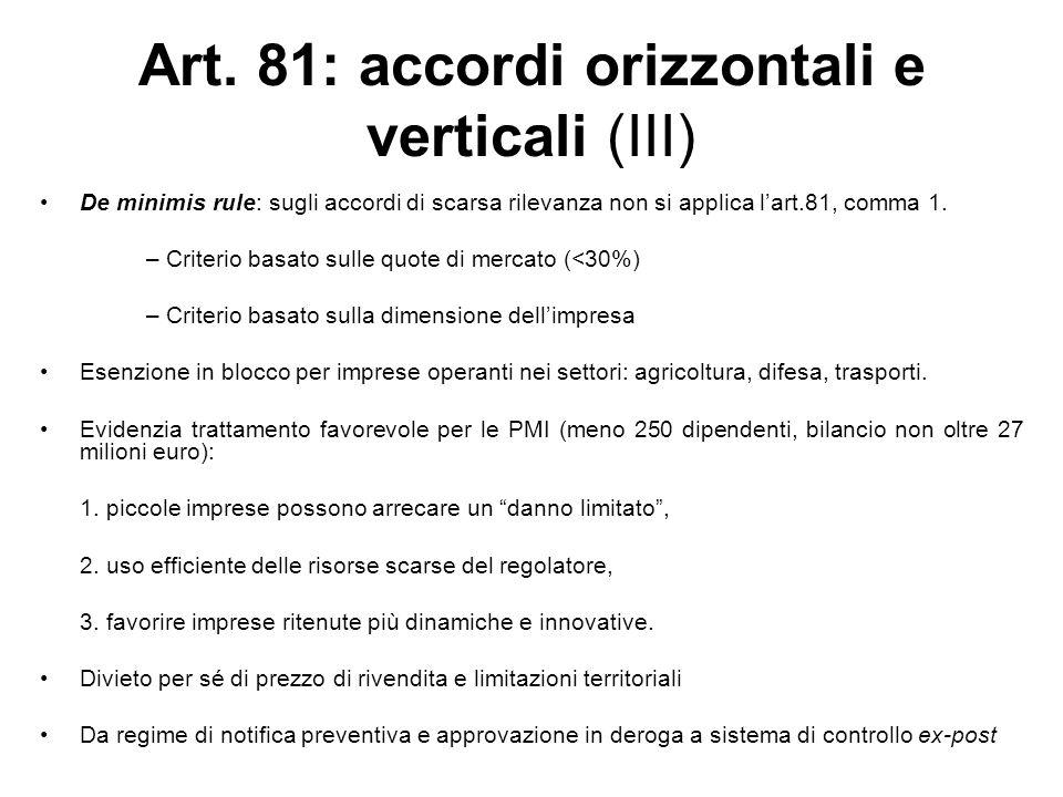 Art. 81: accordi orizzontali e verticali (III)