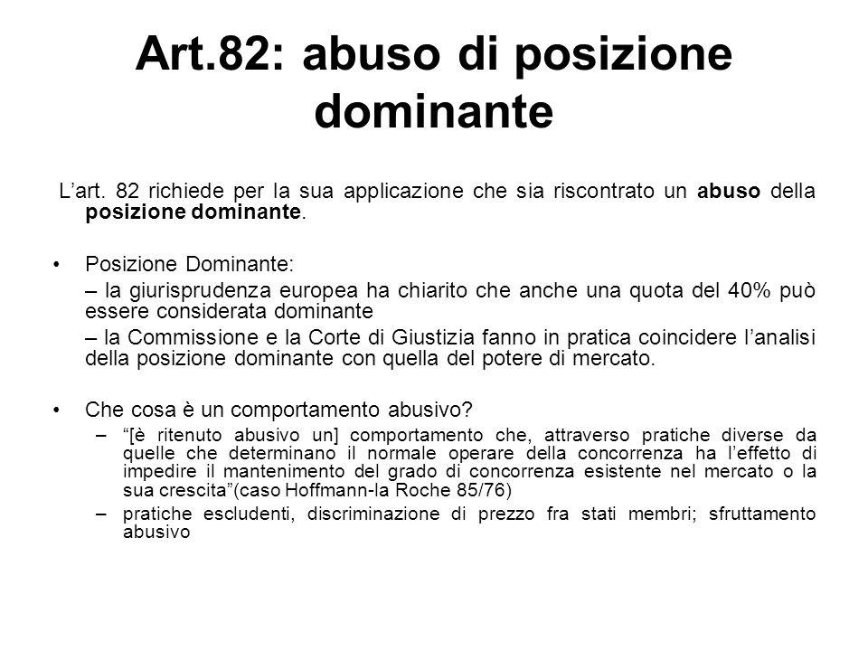 Art.82: abuso di posizione dominante