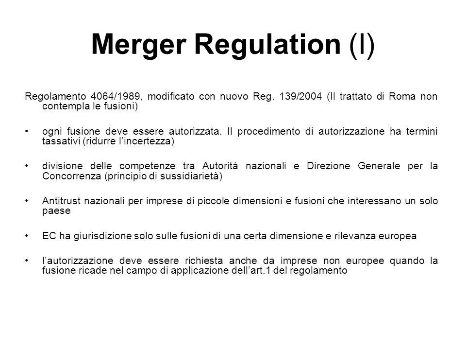 Merger Regulation (I) Regolamento 4064/1989, modificato con nuovo Reg. 139/2004 (Il trattato di Roma non contempla le fusioni)