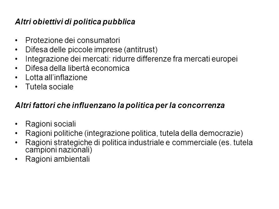 Altri obiettivi di politica pubblica