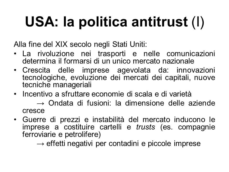 USA: la politica antitrust (I)
