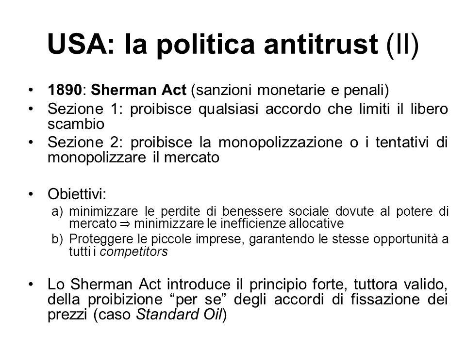 USA: la politica antitrust (II)