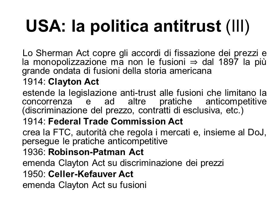 USA: la politica antitrust (III)