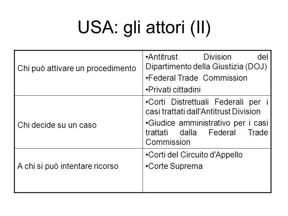 USA: gli attori (II) Chi può attivare un procedimento