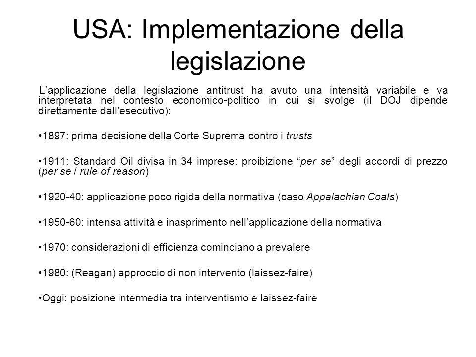 USA: Implementazione della legislazione