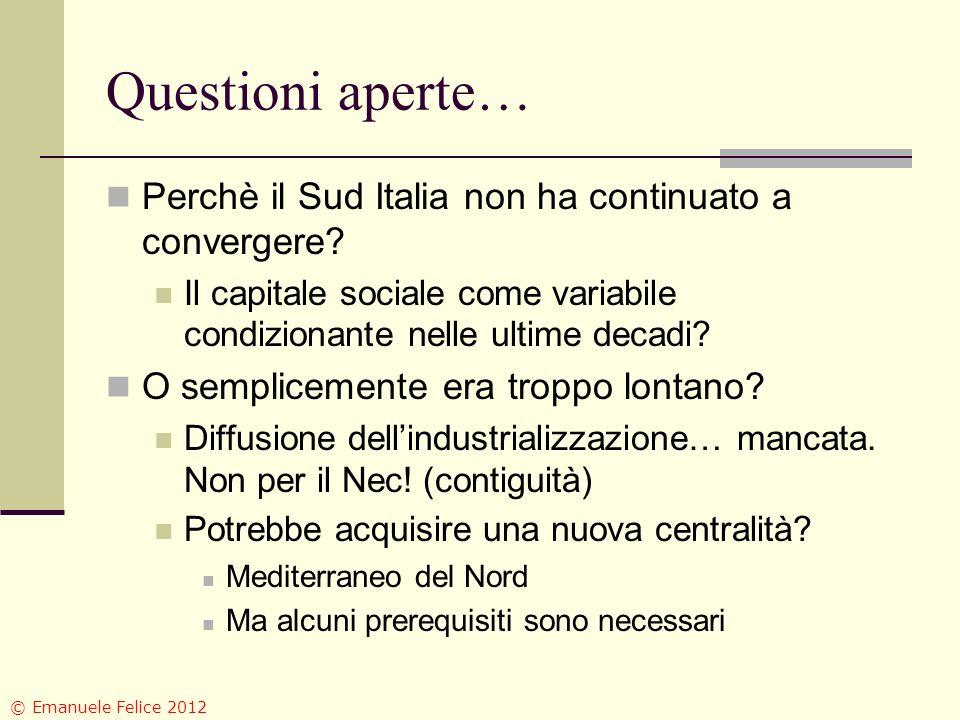 Questioni aperte… Perchè il Sud Italia non ha continuato a convergere