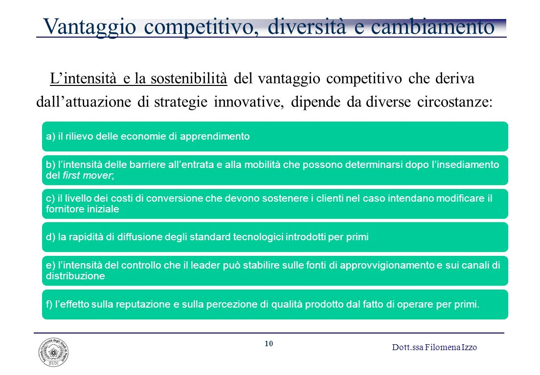 Vantaggio competitivo, diversità e cambiamento