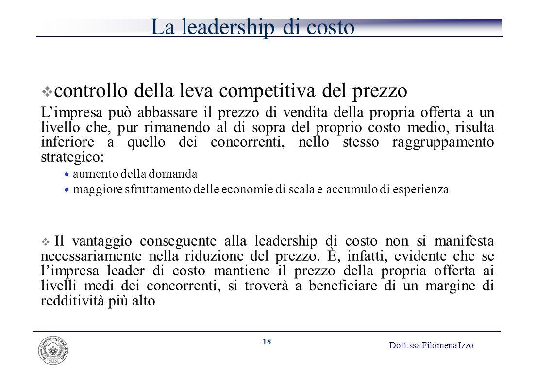 La leadership di costo controllo della leva competitiva del prezzo