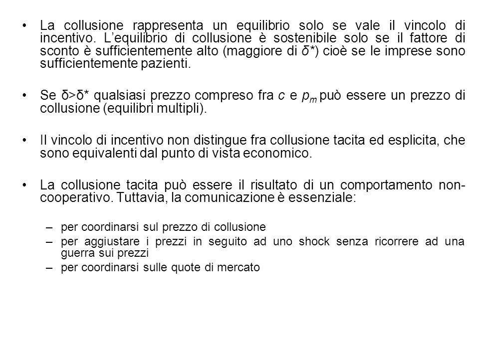 La collusione rappresenta un equilibrio solo se vale il vincolo di incentivo. L'equilibrio di collusione è sostenibile solo se il fattore di sconto è sufficientemente alto (maggiore di δ*) cioè se le imprese sono sufficientemente pazienti.