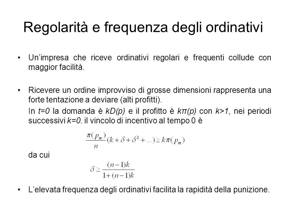 Regolarità e frequenza degli ordinativi