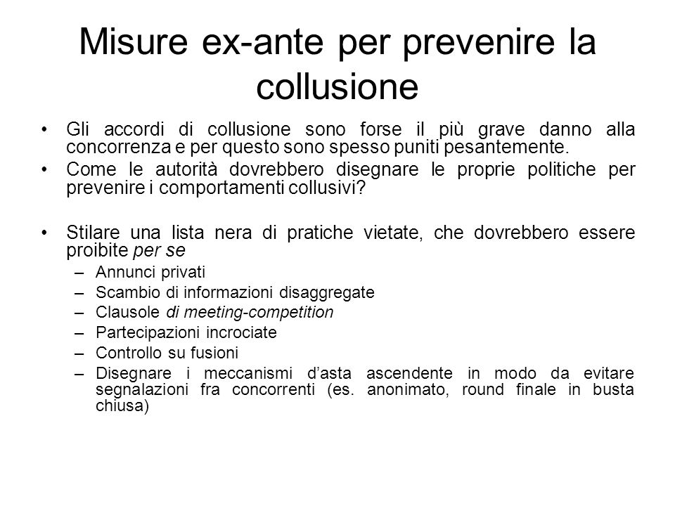 Misure ex-ante per prevenire la collusione