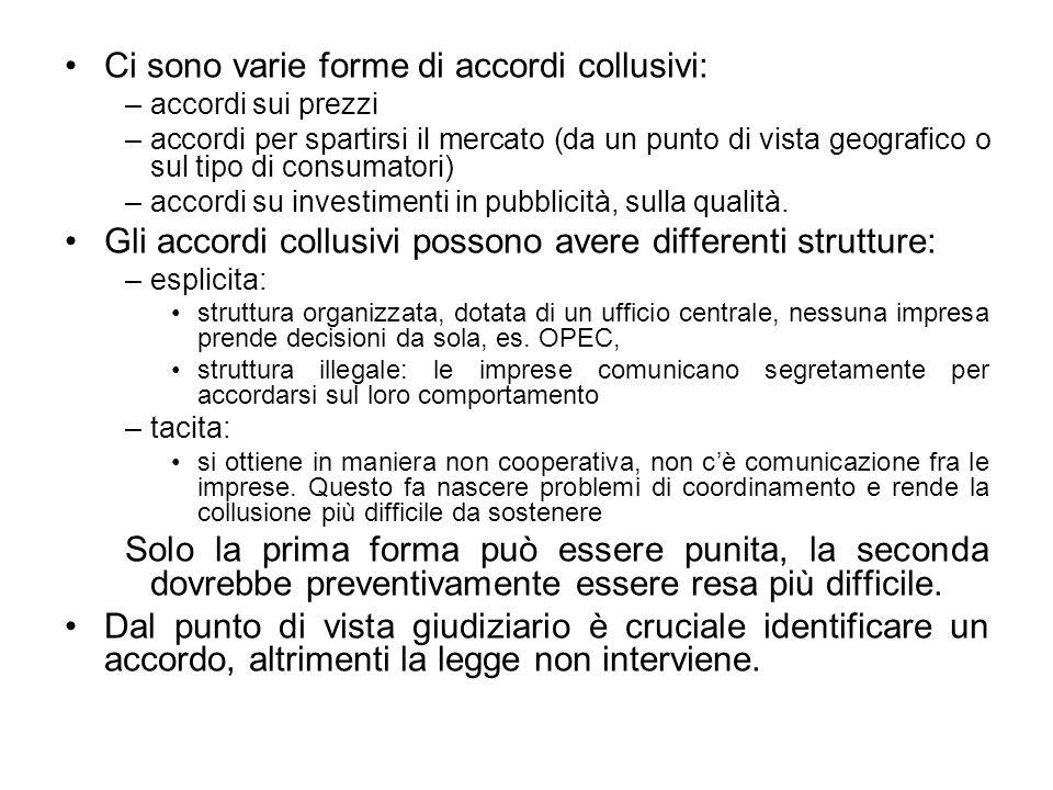 Ci sono varie forme di accordi collusivi: