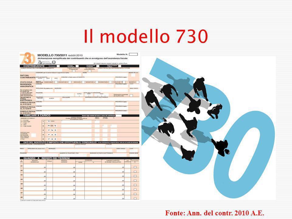Il modello 730 Fonte: Ann. del contr. 2010 A.E.