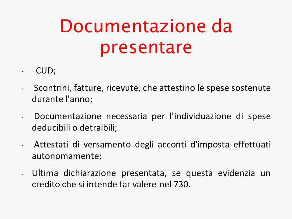 Documentazione da presentare
